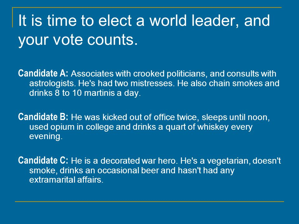 It is time to elect a world leader, and your vote counts.