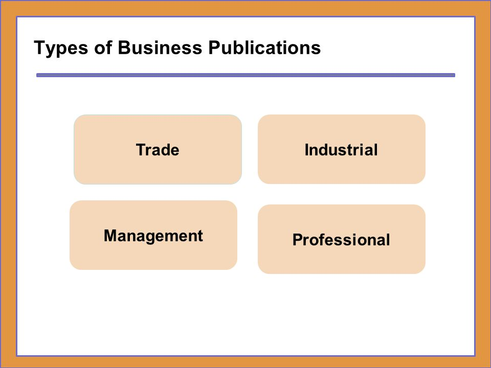 Types of Business Publications Trade Industrial Management Professional