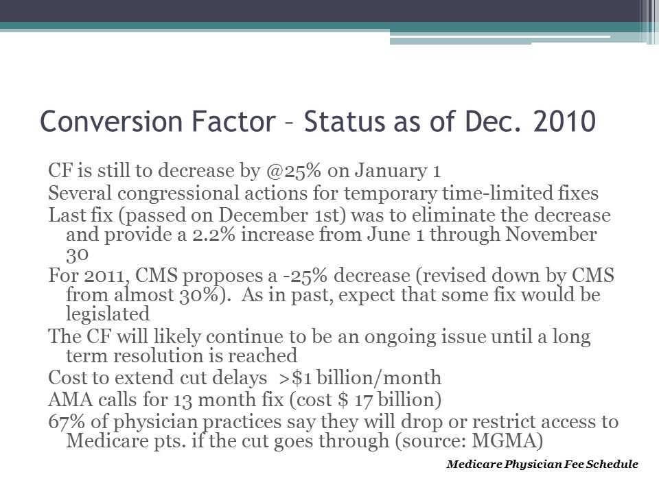 Conversion Factor – Status as of Dec.