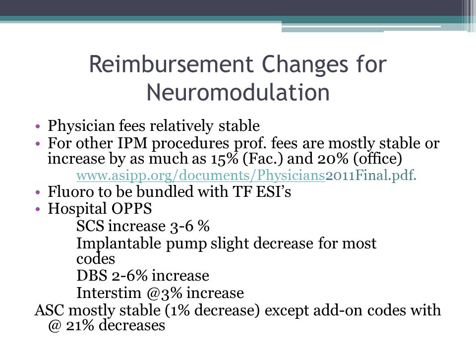 Reimbursement Changes for Neuromodulation Physician fees relatively stable For other IPM procedures prof.
