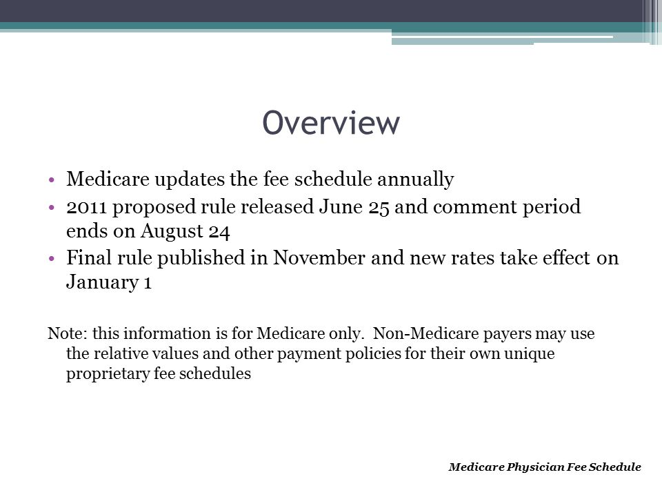 Overview Medicare updates the fee schedule annually 2011 proposed rule released June 25 and comment period ends on August 24 Final rule published in N