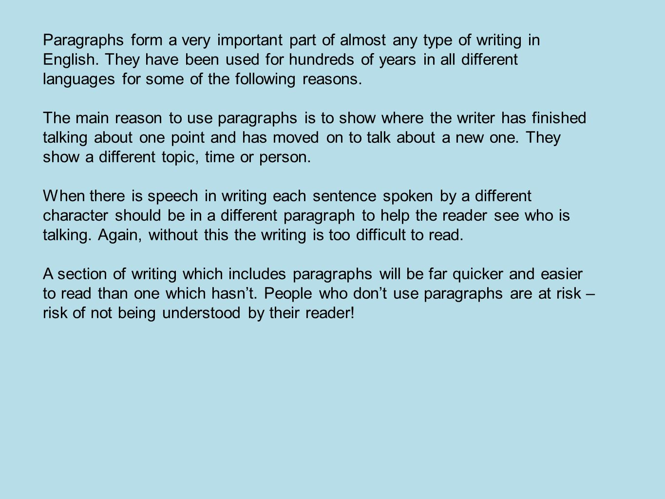 Paragraphs form a very important part of almost any type of writing in English.