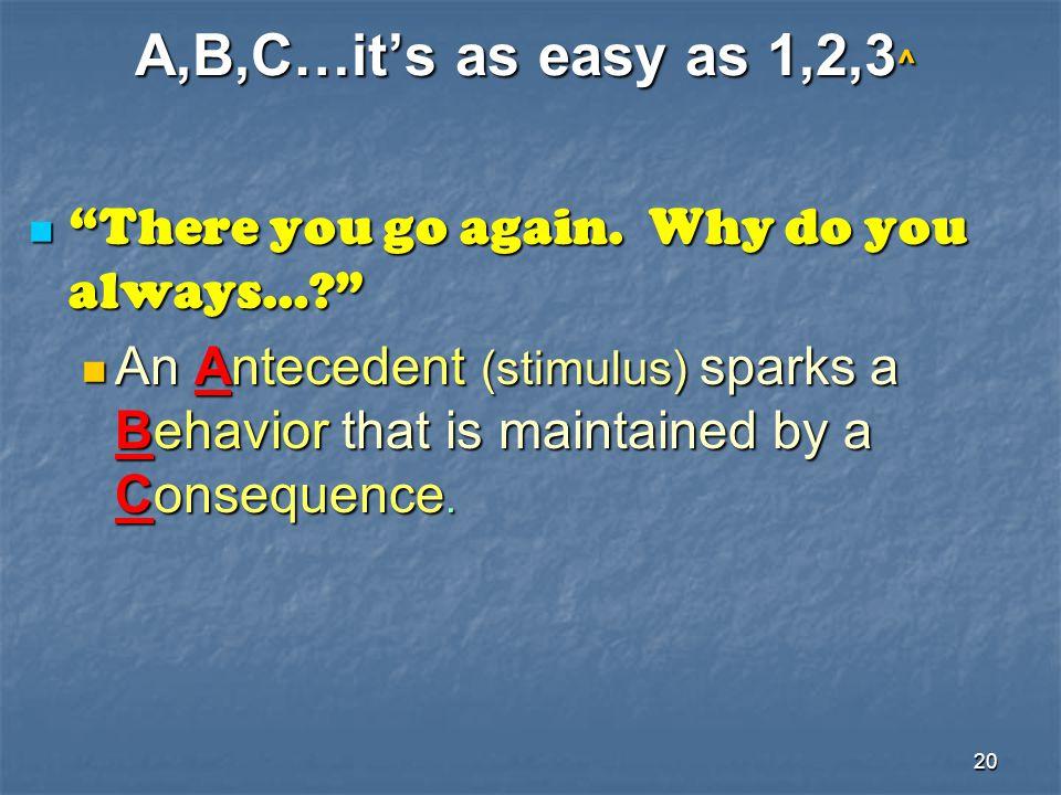 "20 A,B,C…it's as easy as 1,2,3^ ""There you go again. Why do you always…?"" ""There you go again. Why do you always…?"" An Antecedent (stimulus) sparks a"
