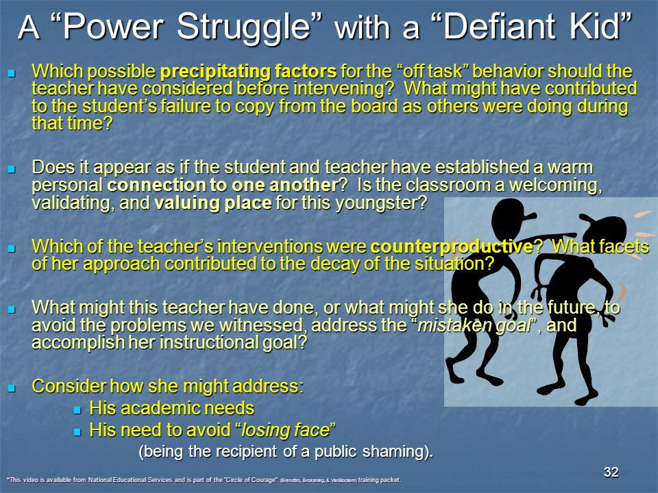 """32 A """"Power Struggle"""" with a """"Defiant Kid"""" Which possible precipitating factors for the """"off task"""" behavior should the teacher have considered before"""