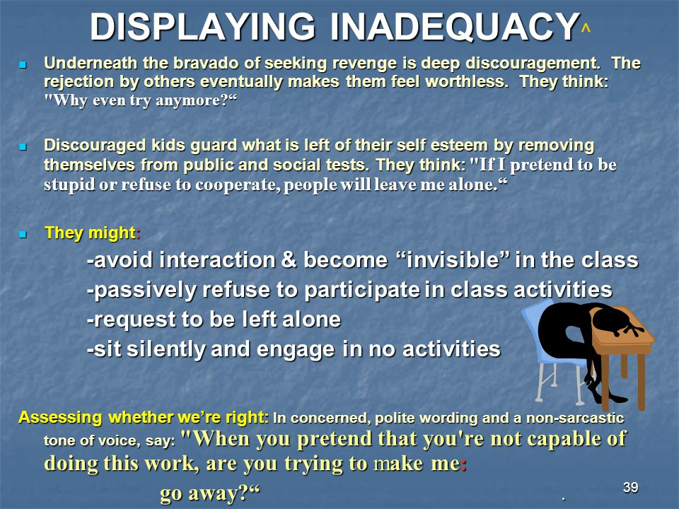 39 DISPLAYING INADEQUACY DISPLAYING INADEQUACY ^ Underneath the bravado of seeking revenge is deep discouragement. The rejection by others eventually