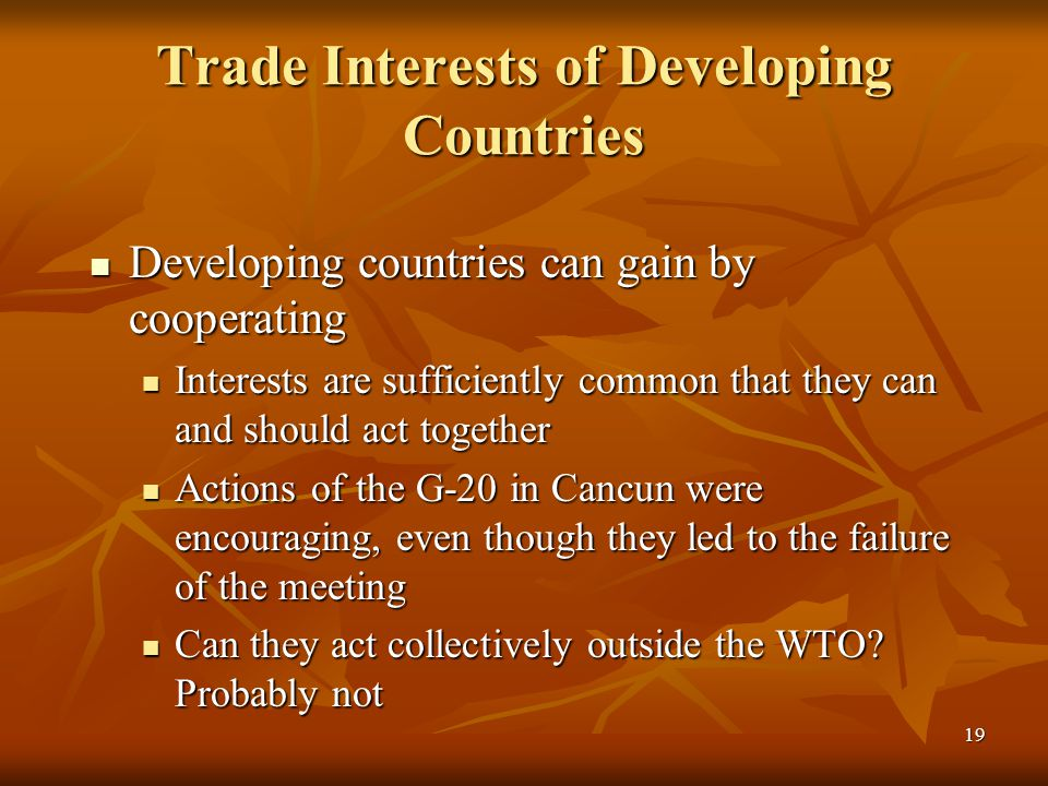 19 Trade Interests of Developing Countries Developing countries can gain by cooperating Developing countries can gain by cooperating Interests are sufficiently common that they can and should act together Interests are sufficiently common that they can and should act together Actions of the G-20 in Cancun were encouraging, even though they led to the failure of the meeting Actions of the G-20 in Cancun were encouraging, even though they led to the failure of the meeting Can they act collectively outside the WTO.