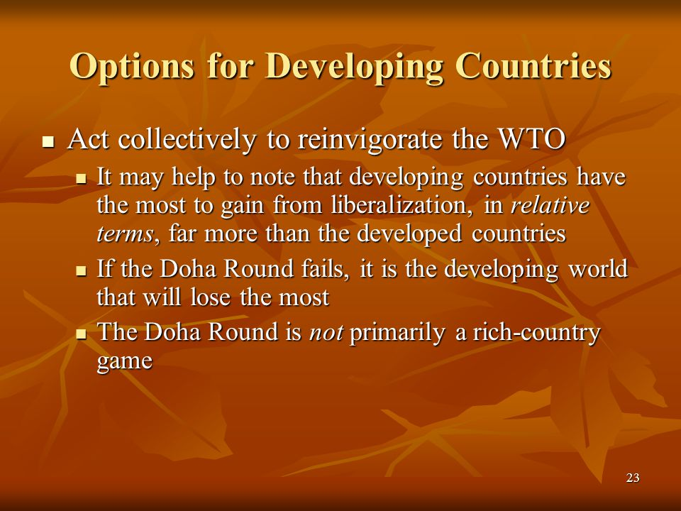 23 Options for Developing Countries Act collectively to reinvigorate the WTO Act collectively to reinvigorate the WTO It may help to note that developing countries have the most to gain from liberalization, in relative terms, far more than the developed countries It may help to note that developing countries have the most to gain from liberalization, in relative terms, far more than the developed countries If the Doha Round fails, it is the developing world that will lose the most If the Doha Round fails, it is the developing world that will lose the most The Doha Round is not primarily a rich-country game The Doha Round is not primarily a rich-country game
