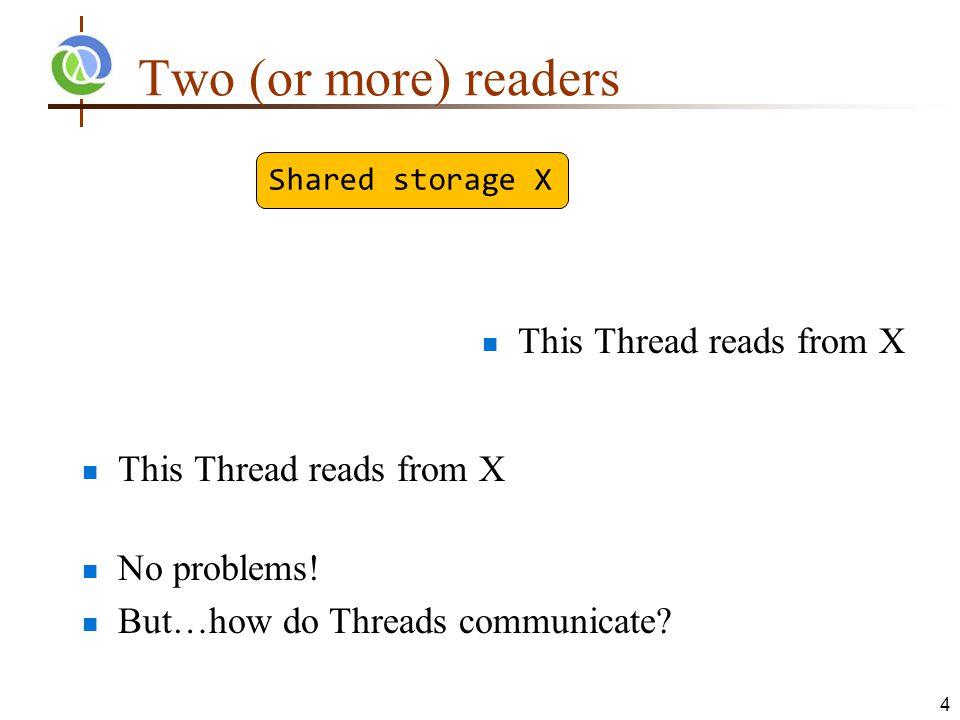 Two (or more) readers This Thread reads from X No problems.