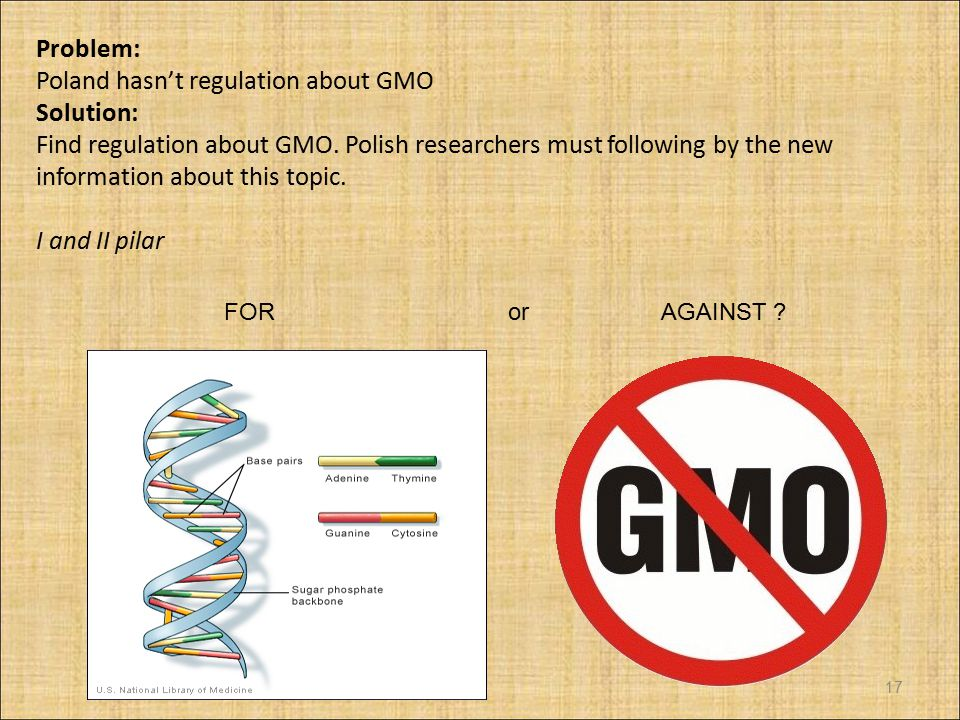 Problem: Poland hasn't regulation about GMO Solution: Find regulation about GMO.