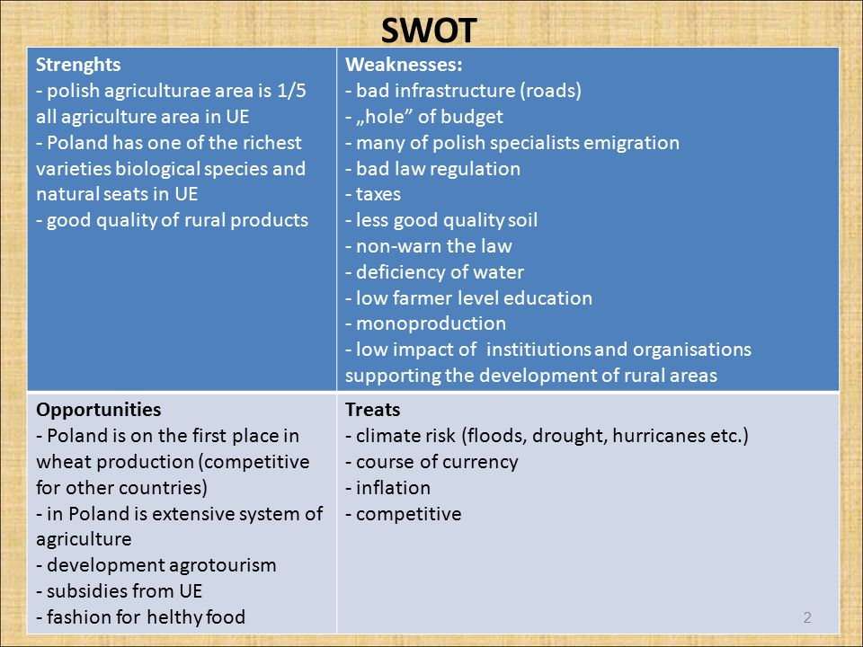 "SWOT Strenghts - polish agriculturae area is 1/5 all agriculture area in UE - Poland has one of the richest varieties biological species and natural seats in UE - good quality of rural products Weaknesses: - bad infrastructure (roads) - ""hole of budget - many of polish specialists emigration - bad law regulation - taxes - less good quality soil - non-warn the law - deficiency of water - low farmer level education - monoproduction - low impact of institiutions and organisations supporting the development of rural areas Opportunities - Poland is on the first place in wheat production (competitive for other countries) - in Poland is extensive system of agriculture - development agrotourism - subsidies from UE - fashion for helthy food Treats - climate risk (floods, drought, hurricanes etc.) - course of currency - inflation - competitive 2"