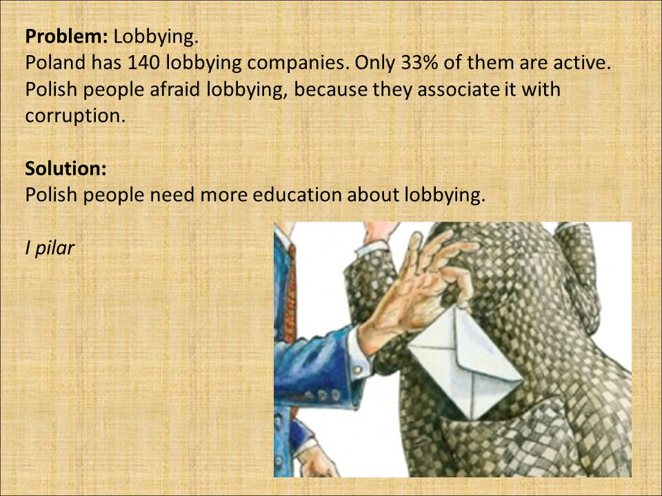 Problem: Lobbying. Poland has 140 lobbying companies. Only 33% of them are active. Polish people afraid lobbying, because they associate it with corru