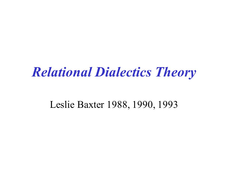 Relational Dialectics Theory Leslie Baxter 1988, 1990, 1993