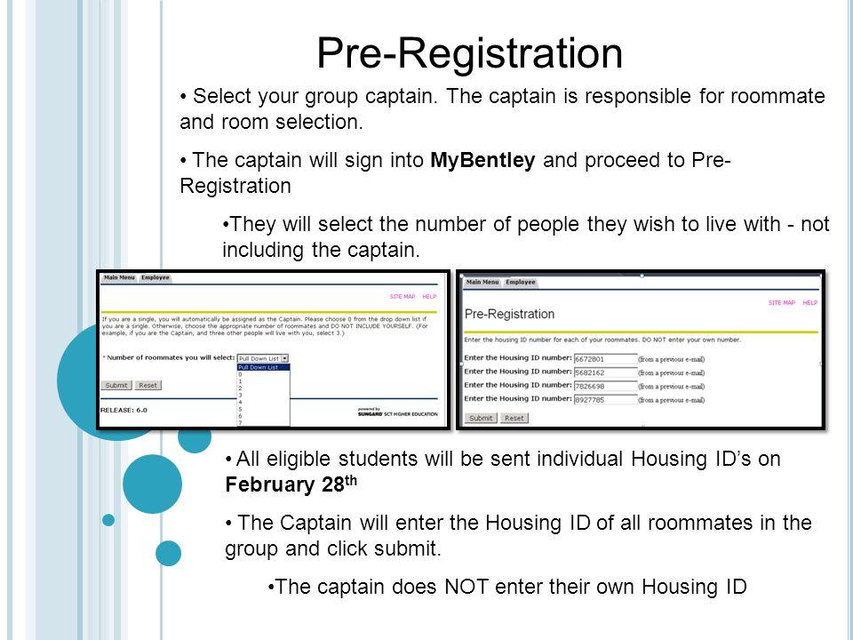Pre-Registration Select your group captain.