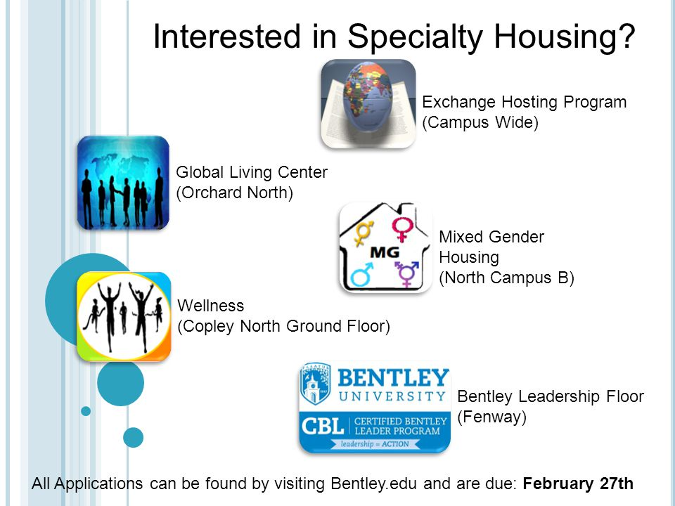 Mixed Gender Housing (North Campus B) Exchange Hosting Program (Campus Wide) Global Living Center (Orchard North) Wellness (Copley North Ground Floor) Bentley Leadership Floor (Fenway) Interested in Specialty Housing.