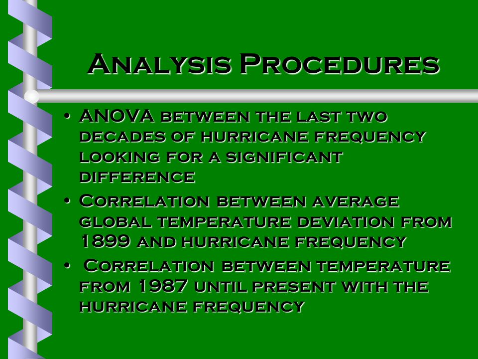 Analysis Procedures ANOVA between the last two decades of hurricane frequency looking for a significant differenceANOVA between the last two decades of hurricane frequency looking for a significant difference Correlation between average global temperature deviation from 1899 and hurricane frequencyCorrelation between average global temperature deviation from 1899 and hurricane frequency Correlation between temperature from 1987 until present with the hurricane frequency Correlation between temperature from 1987 until present with the hurricane frequency