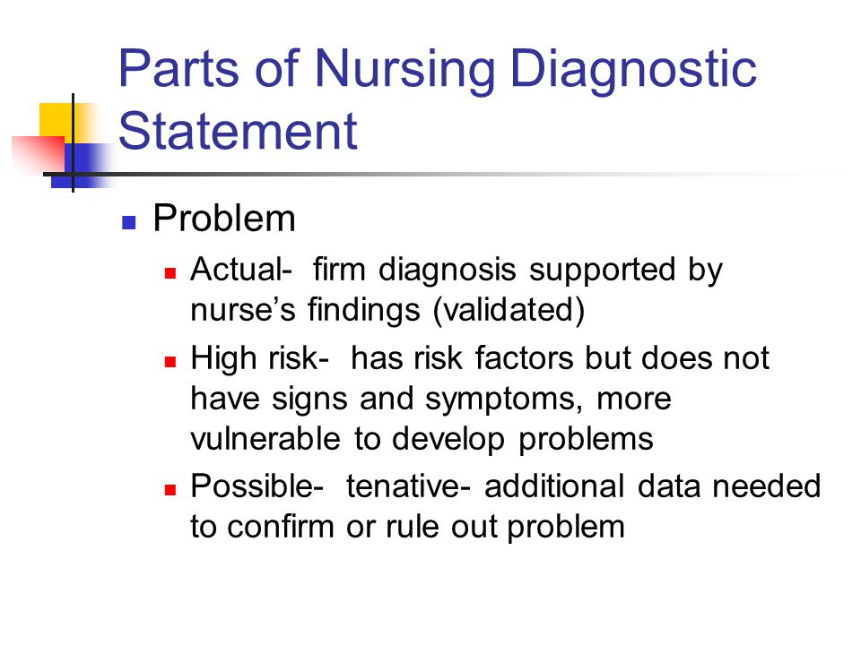 Parts of Nursing Diagnostic Statement Problem Actual- firm diagnosis supported by nurse's findings (validated) High risk- has risk factors but does no