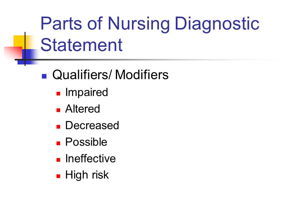 Parts of Nursing Diagnostic Statement Qualifiers/ Modifiers Impaired Altered Decreased Possible Ineffective High risk