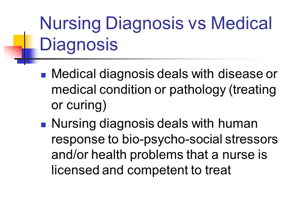 Nursing Diagnosis vs Medical Diagnosis Medical diagnosis deals with disease or medical condition or pathology (treating or curing) Nursing diagnosis d
