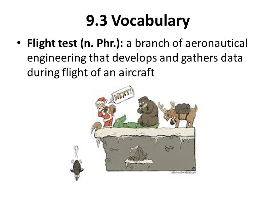 9.3 Vocabulary Flight test (n. Phr.): a branch of aeronautical engineering that develops and gathers data during flight of an aircraft