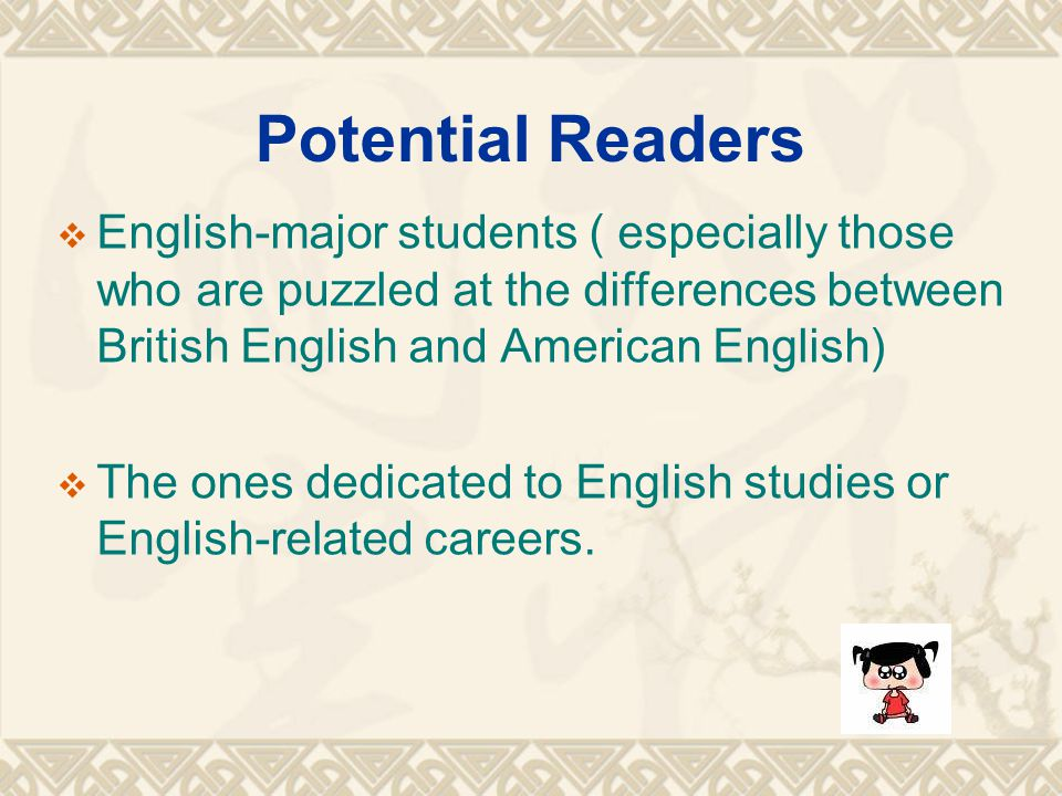 Potential Readers  English-major students ( especially those who are puzzled at the differences between British English and American English)  The o