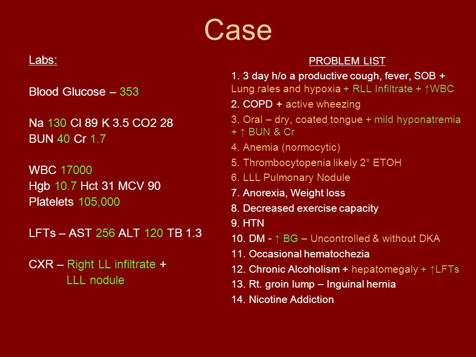 Case Labs: Blood Glucose – 353 Na 130 Cl 89 K 3.5 CO2 28 BUN 40 Cr 1.7 WBC 17000 Hgb 10.7 Hct 31 MCV 90 Platelets 105,000 LFTs – AST 256 ALT 120 TB 1.3 CXR – Right LL infiltrate + LLL nodule PROBLEM LIST 1.