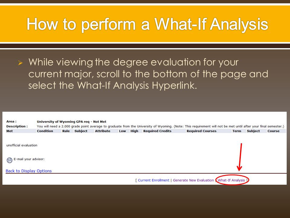  While viewing the degree evaluation for your current major, scroll to the bottom of the page and select the What-If Analysis Hyperlink.
