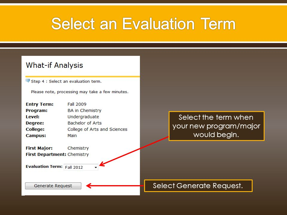 Select the term when your new program/major would begin. Select Generate Request.