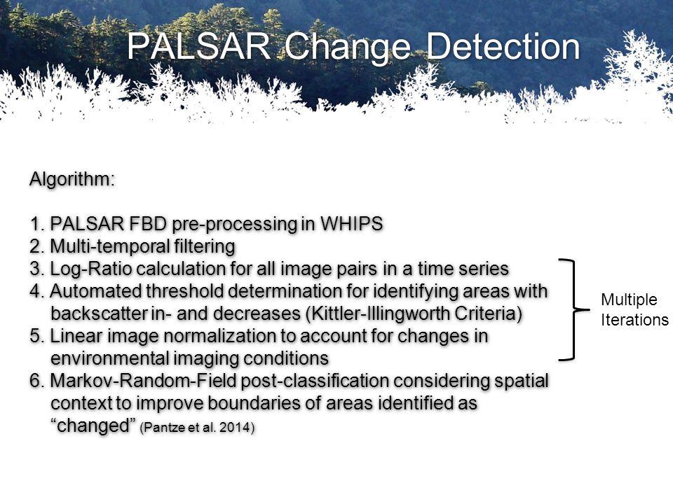 PALSAR Change Detection Algorithm: 1. PALSAR FBD pre-processing in WHIPS 2.