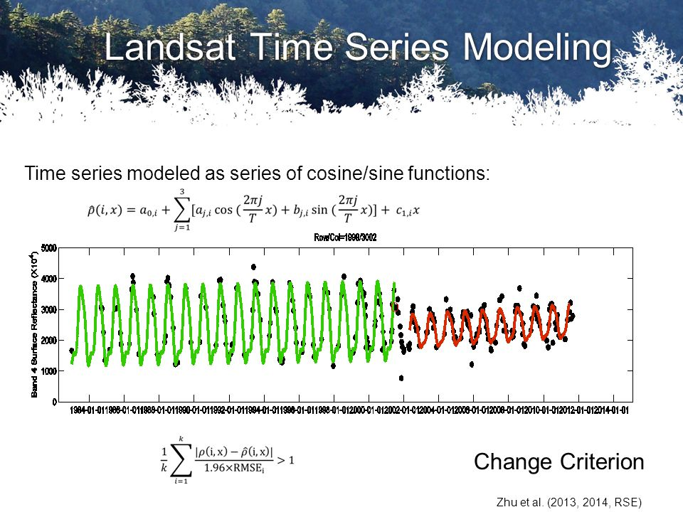 Landsat Time Series Modeling Zhu et al. (2013, 2014, RSE) Change Criterion Time series modeled as series of cosine/sine functions: