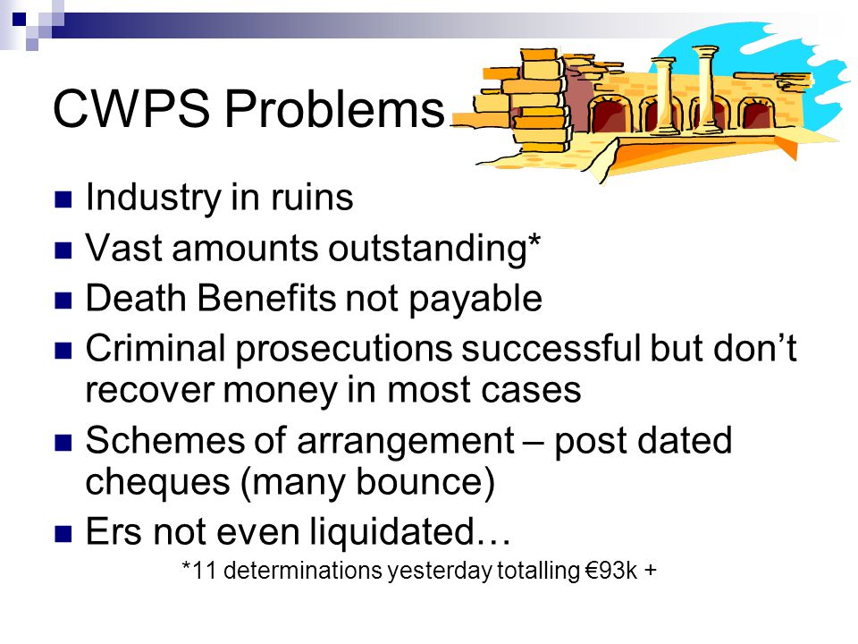 CWPS Problems Industry in ruins Vast amounts outstanding* Death Benefits not payable Criminal prosecutions successful but don't recover money in most cases Schemes of arrangement – post dated cheques (many bounce) Ers not even liquidated… *11 determinations yesterday totalling €93k +