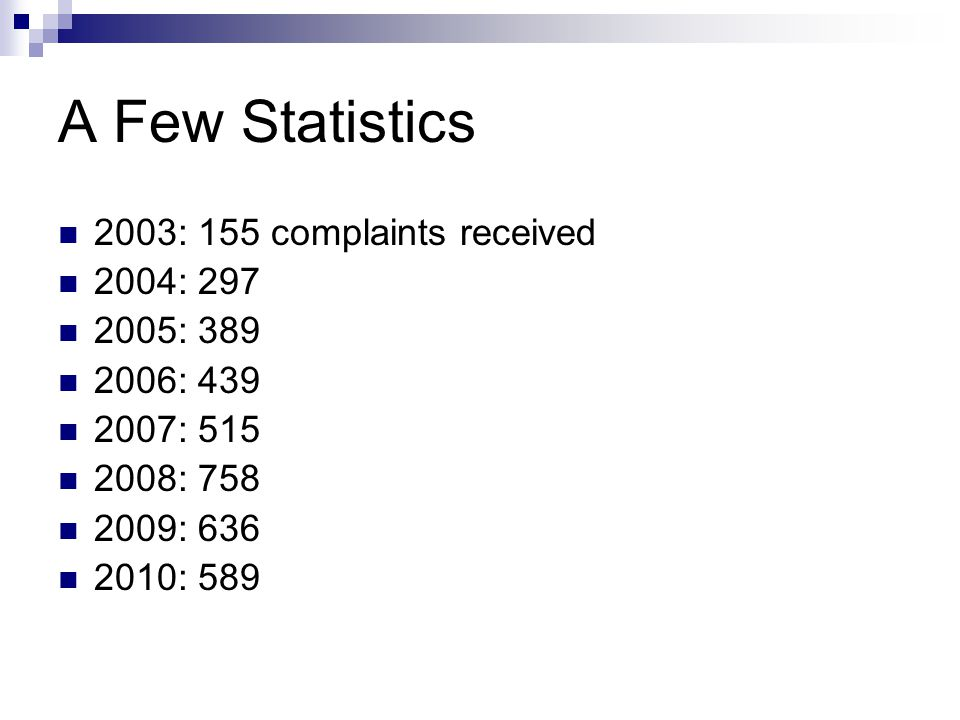 A Few Statistics 2003: 155 complaints received 2004: 297 2005: 389 2006: 439 2007: 515 2008: 758 2009: 636 2010: 589