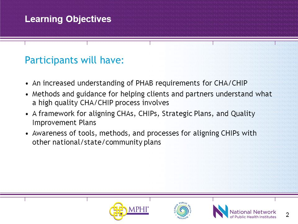 Participants will have: An increased understanding of PHAB requirements for CHA/CHIP Methods and guidance for helping clients and partners understand