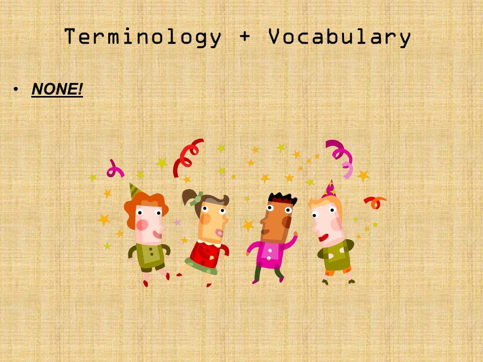 Terminology + Vocabulary NONE!