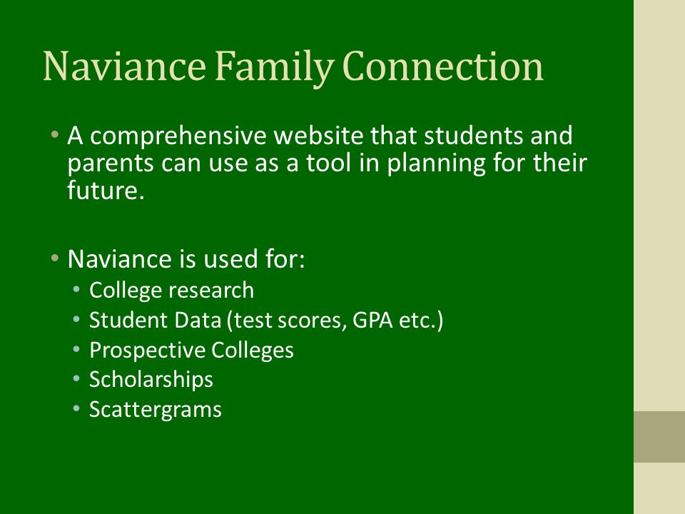 Scholarships Scholarships are listed on Naviance When applying for scholarships transcript requests should be brought to guidance at least one week before due date so it can be processed.