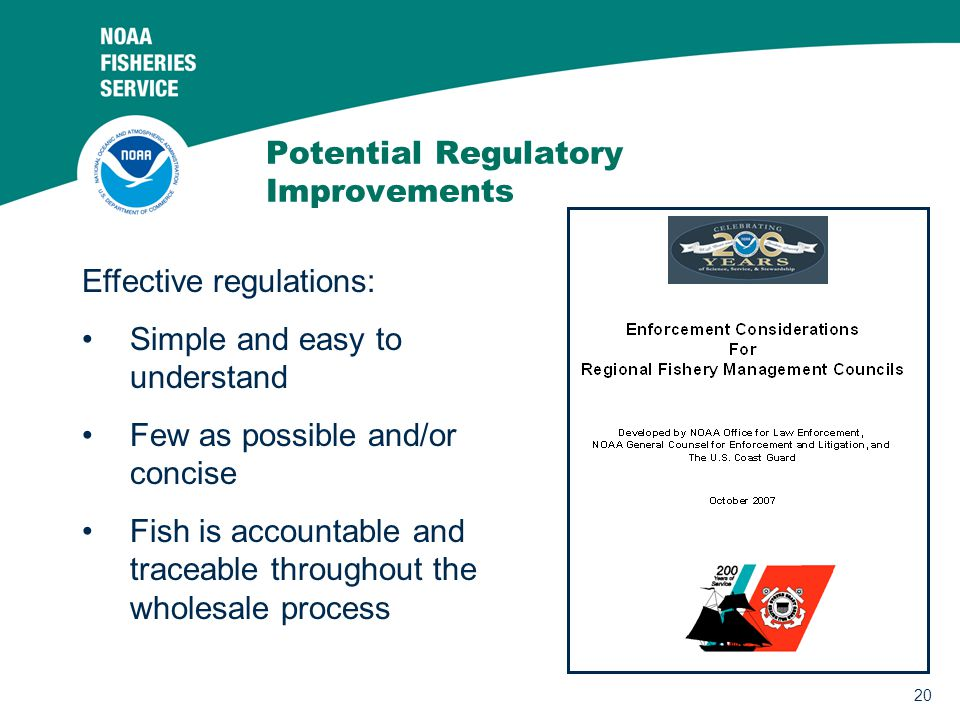 20 Potential Regulatory Improvements Effective regulations: Simple and easy to understand Few as possible and/or concise Fish is accountable and traceable throughout the wholesale process