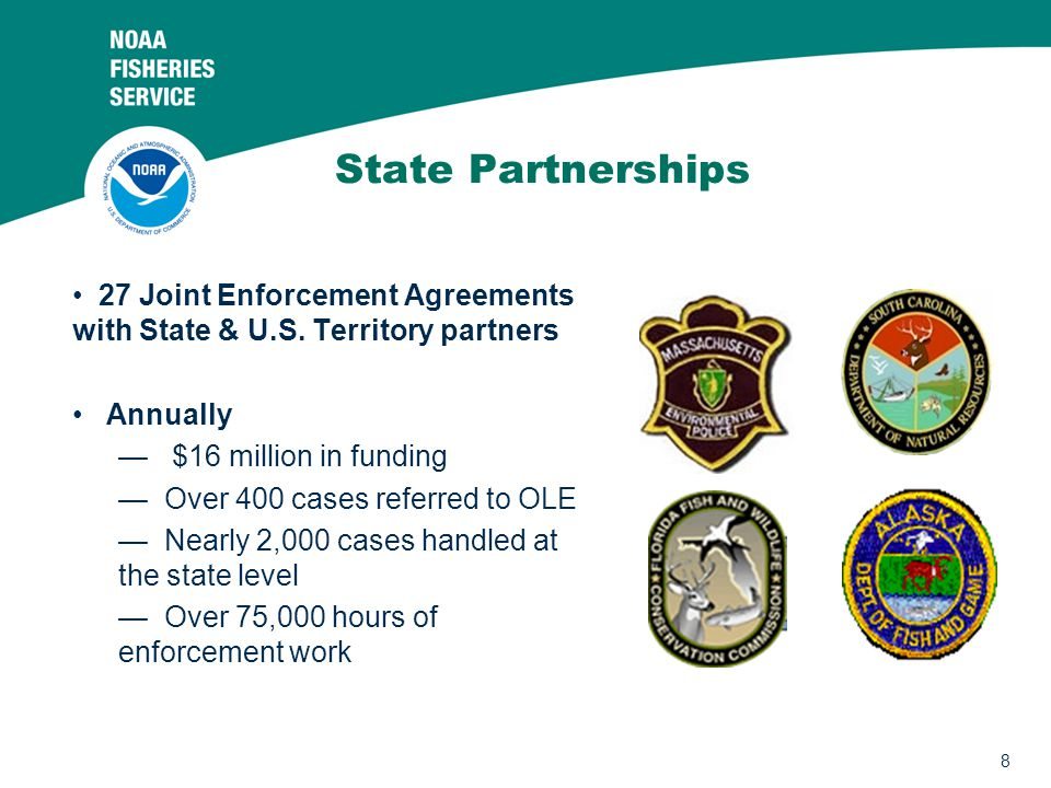 8 State Partnerships 27 Joint Enforcement Agreements with State & U.S.