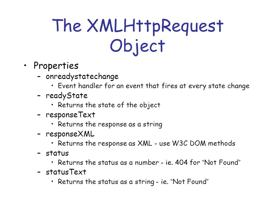The XMLHttpRequest Object Properties –onreadystatechange Event handler for an event that fires at every state change –readyState Returns the state of the object –responseText Returns the response as a string –responseXML Returns the response as XML - use W3C DOM methods –status Returns the status as a number - ie.