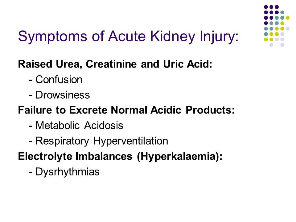 Symptoms of Acute Kidney Injury: Raised Urea, Creatinine and Uric Acid: - Confusion - Drowsiness Failure to Excrete Normal Acidic Products: - Metabolic Acidosis - Respiratory Hyperventilation Electrolyte Imbalances (Hyperkalaemia): - Dysrhythmias