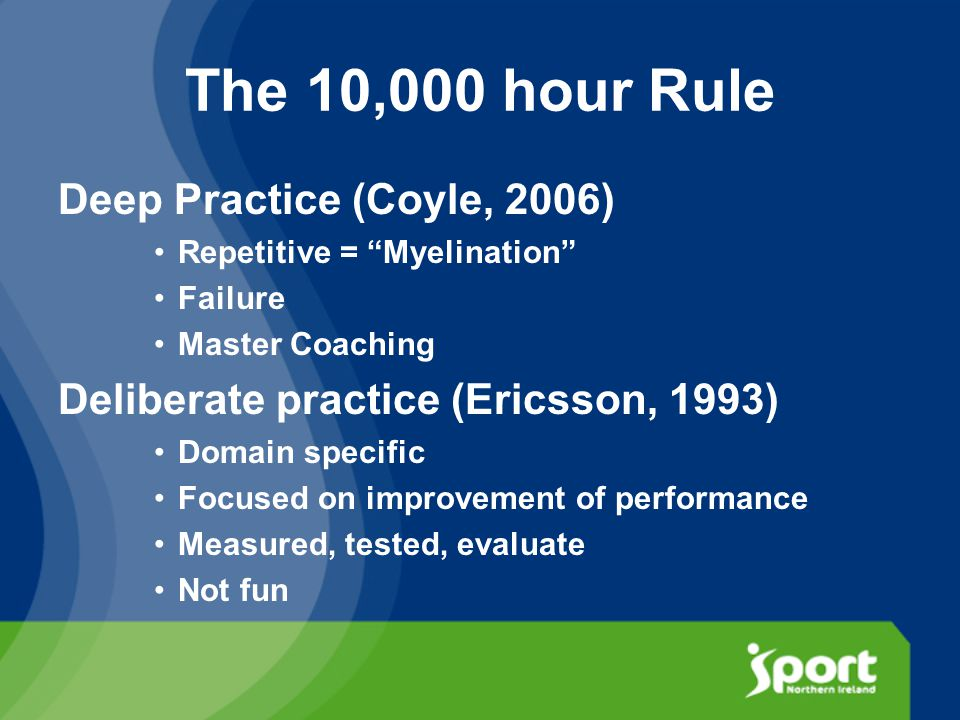 The 10,000 hour Rule Deep Practice (Coyle, 2006) Repetitive = Myelination Failure Master Coaching Deliberate practice (Ericsson, 1993) Domain specific Focused on improvement of performance Measured, tested, evaluate Not fun
