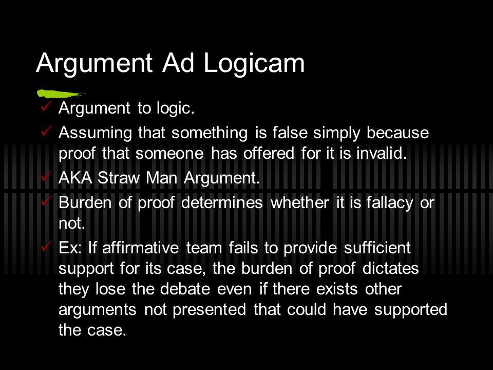 Argument Ad Logicam Argument to logic.