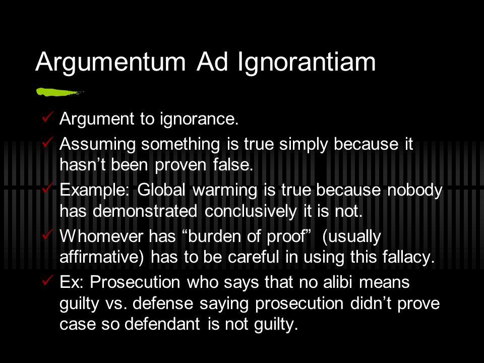 Argumentum Ad Ignorantiam Argument to ignorance.