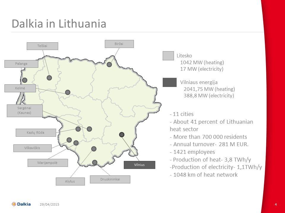 4 Dalkia in Lithuania Sargėnai (Kaunas) PalangaTelšiaiBiržaiKelmė Kazlų Rūda Vilkaviškis Marijampolė Druskininkai Alytus Vilnius Litesko 1042 MW (heating) 17 MW (electricity) Vilniaus energija 2041,75 MW (heating) 388,8 MW (electricity) - 11 cities - About 41 percent of Lithuanian heat sector - More than 700 000 residents - Annual turnover- 281 M EUR.