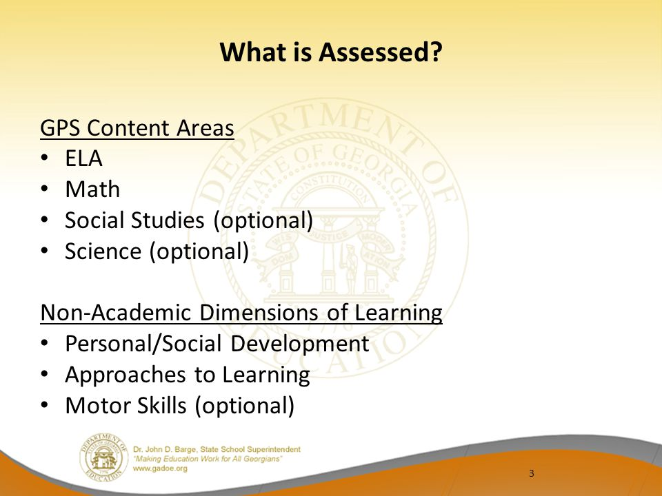 3 What is Assessed.