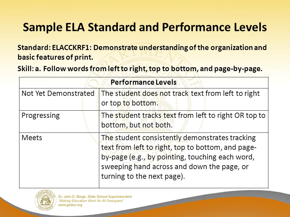 Sample ELA Standard and Performance Levels Standard: ELACCKRF1: Demonstrate understanding of the organization and basic features of print. Skill: a. F