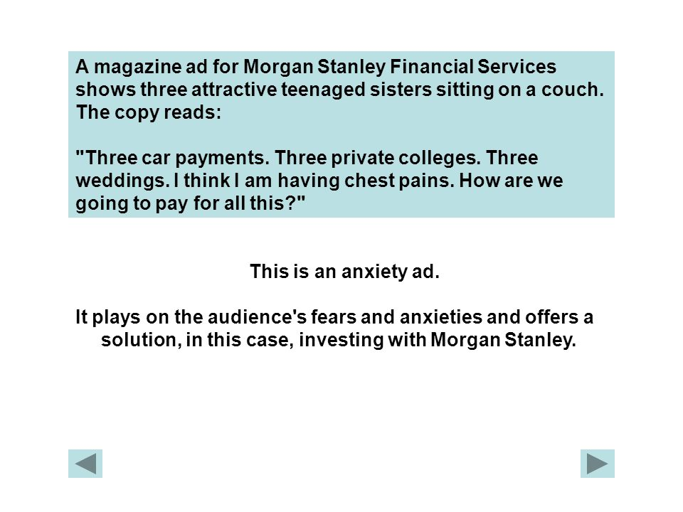 A magazine ad for Morgan Stanley Financial Services shows three attractive teenaged sisters sitting on a couch. The copy reads: