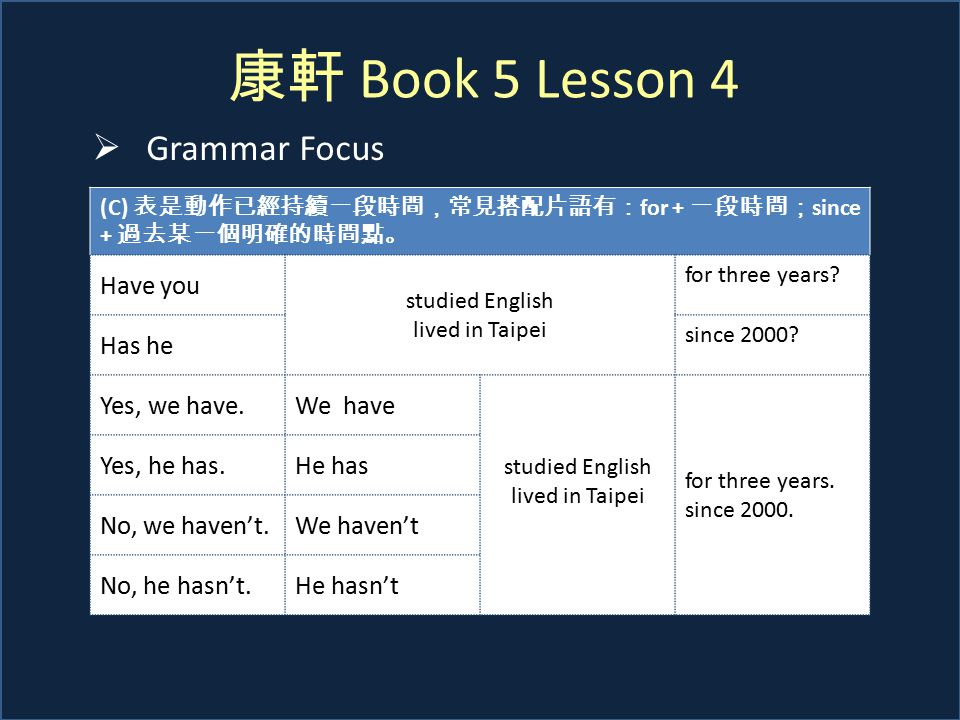 康軒 Book 5 Lesson 4  Grammar Focus (C) 表是動作已經持續一段時間,常見搭配片語有: for + 一段時間; since + 過去某一個明確的時間點。 Have you studied English lived in Taipei for three years.