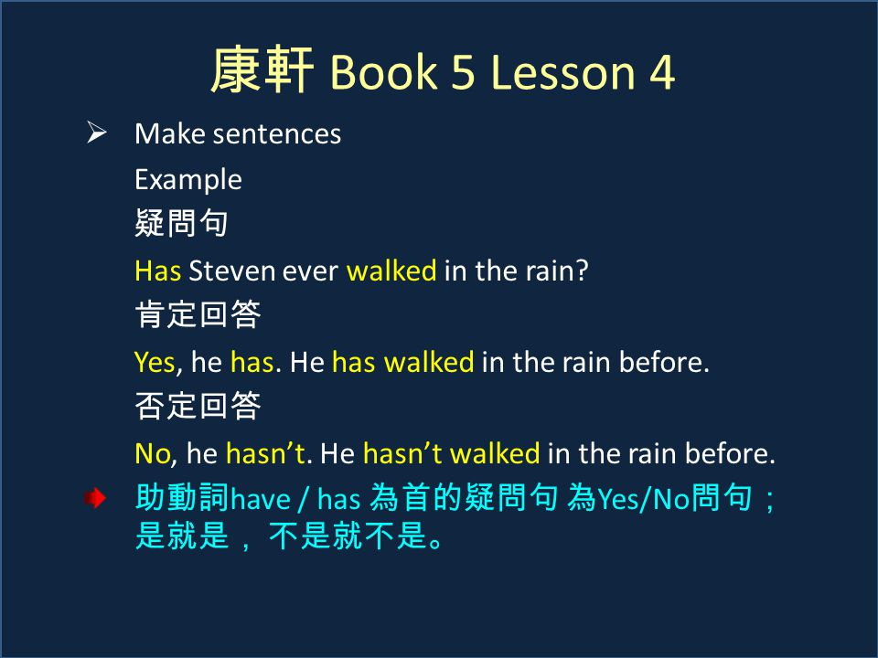 康軒 Book 5 Lesson 4  Make sentences Example 疑問句 Has Steven ever walked in the rain.