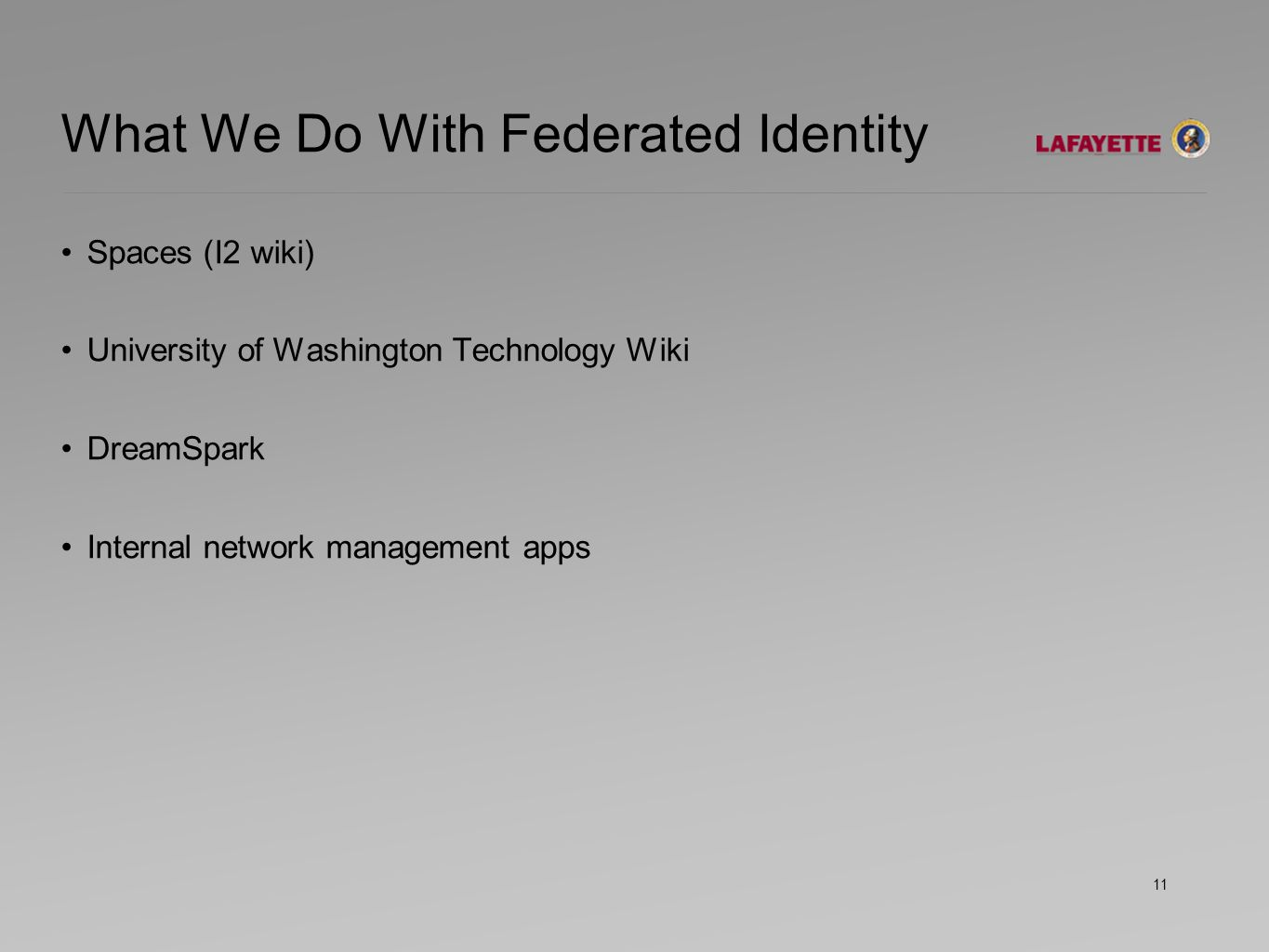 What We Do With Federated Identity Spaces (I2 wiki) University of Washington Technology Wiki DreamSpark Internal network management apps 11