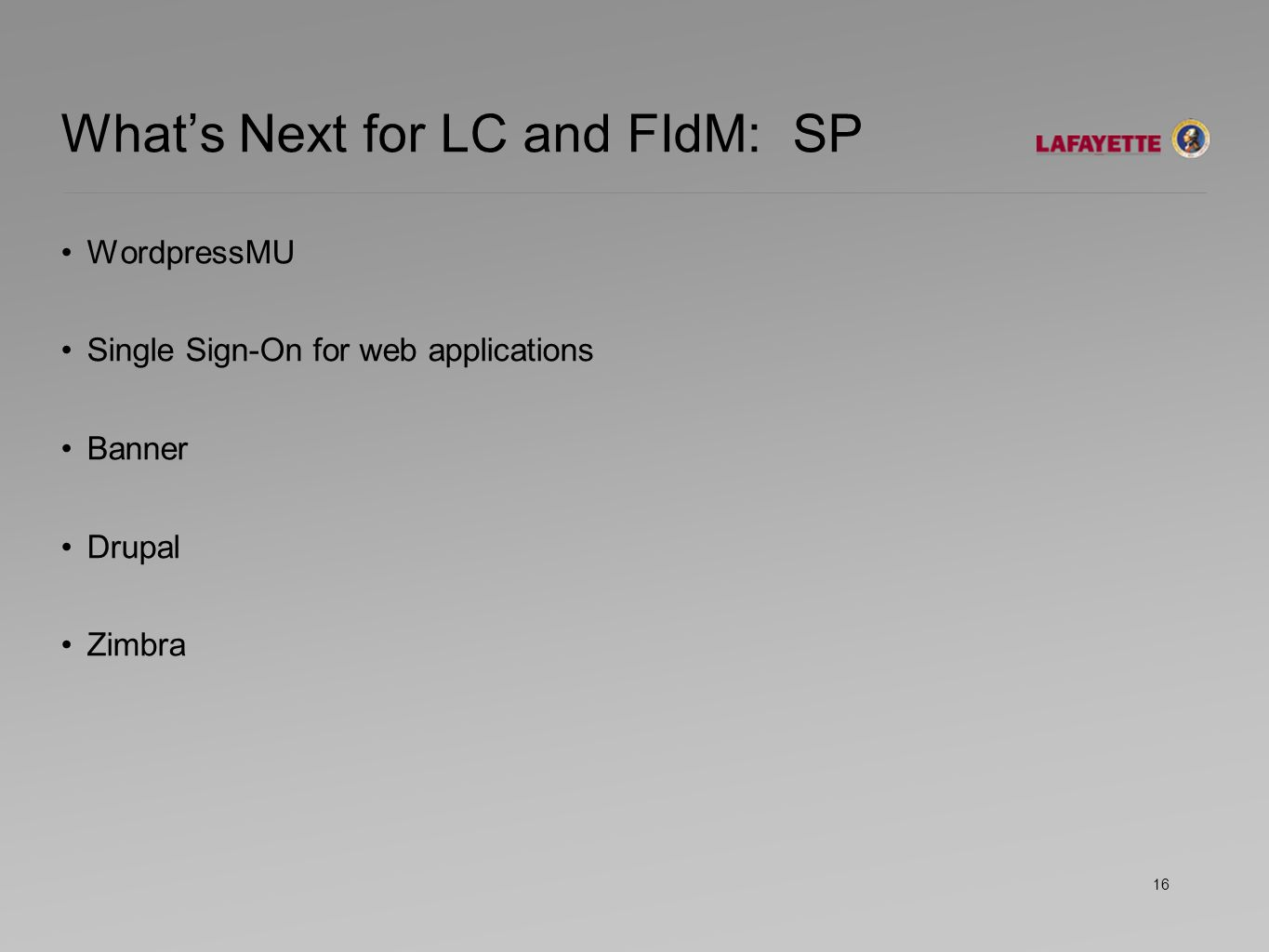 What's Next for LC and FIdM: SP WordpressMU Single Sign-On for web applications Banner Drupal Zimbra 16