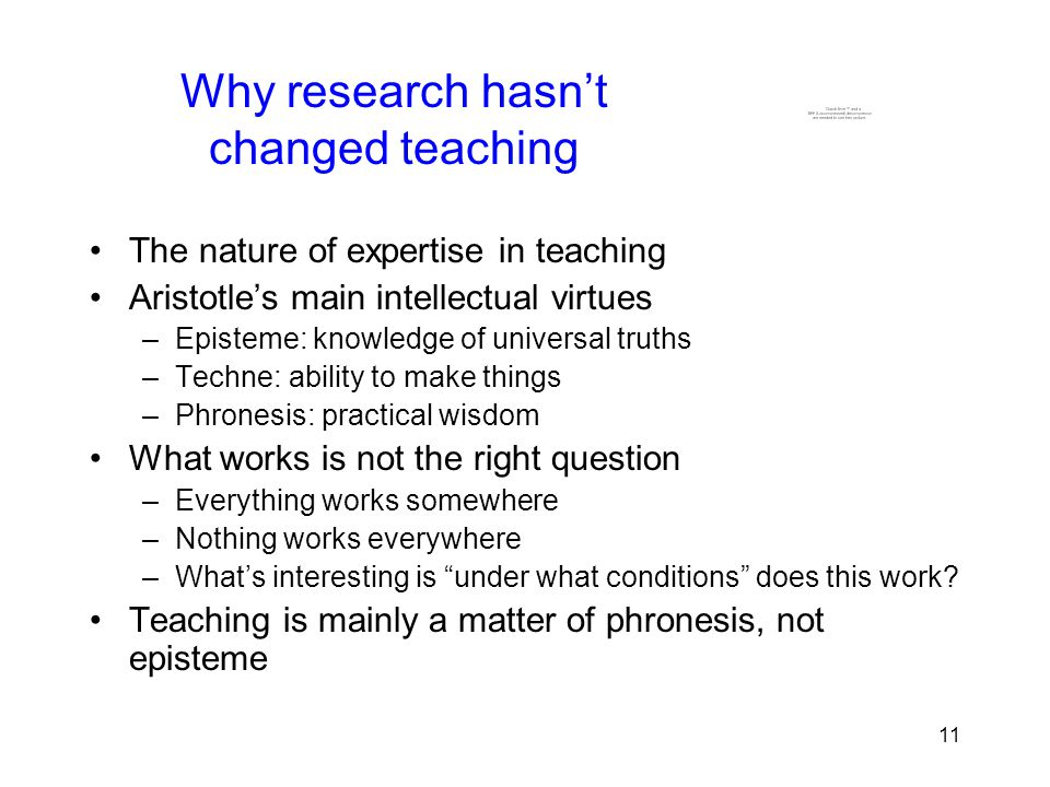 11 Why research hasn't changed teaching The nature of expertise in teaching Aristotle's main intellectual virtues –Episteme: knowledge of universal truths –Techne: ability to make things –Phronesis: practical wisdom What works is not the right question –Everything works somewhere –Nothing works everywhere –What's interesting is under what conditions does this work.
